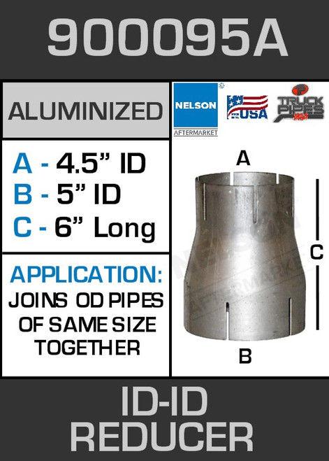 """900095A Exhaust Reducer Aluminized 5"""" ID to 4.5"""" ID x 6"""" Long"""