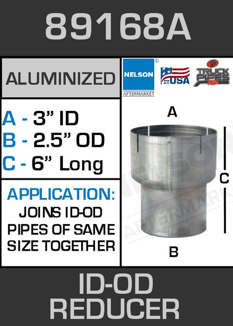 """89168A Exhaust Reducer Aluminized 3"""" ID to 2.5"""" OD x 6"""" Long"""