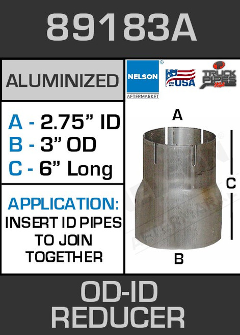 """89183A Exhaust Reducer Aluminized 3"""" OD to 2.75"""" ID x 6"""" Long"""