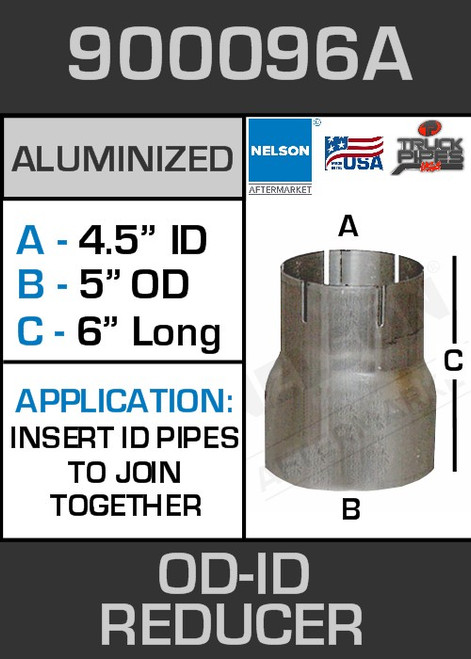 """900096A Exhaust Reducer Aluminized 5"""" OD to 4.5"""" ID x 6"""" Long"""