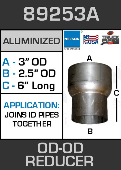 """89253A Exhaust Reducer Aluminized 3"""" OD to 2.5"""" OD x 6"""" Long"""