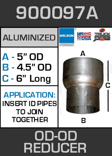 """900097A Exhaust Reducer Aluminized 5"""" OD to 4.5"""" OD x 6"""" Long"""
