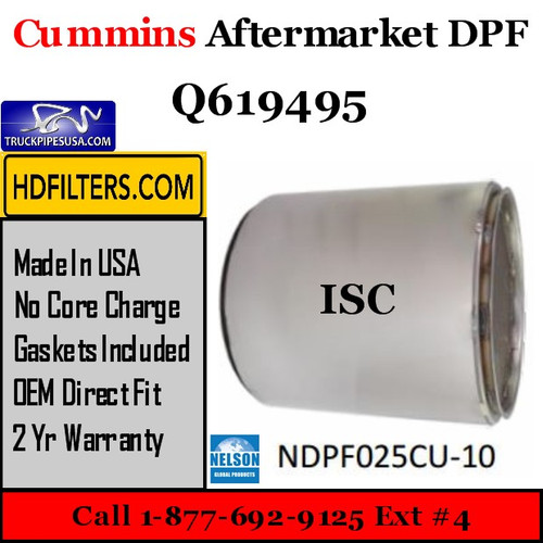 Q619495-NDPF025CU-10 Q619495 Cummins ISC Engine Diesel Particulate Filter DPF