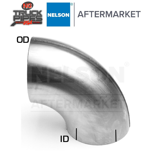 """4"""" OD-ID 90 Degree Stainless Steel Elbow x 7"""" Leg Length Nelson 900574A"""