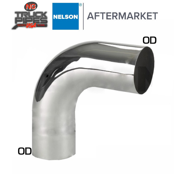 "5"" OD-OD 90 Degree Exhaust Elbow Chrome x 15"" Leg Length Nelson 89117C"