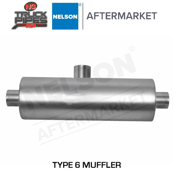"Type 6 Muffler 10"" Body Dia, 5"" ID Inlet & Outlet Splitter Tee Muffler Nelson 86305M"