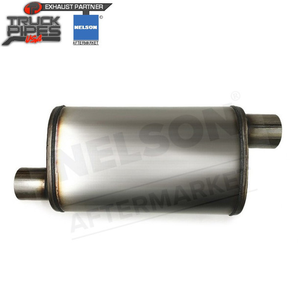 """86631M 8.3"""" x 11.5"""" Oval Muffler 32"""" Long with 3.5"""" IN 4"""" OUT TYPE 2"""