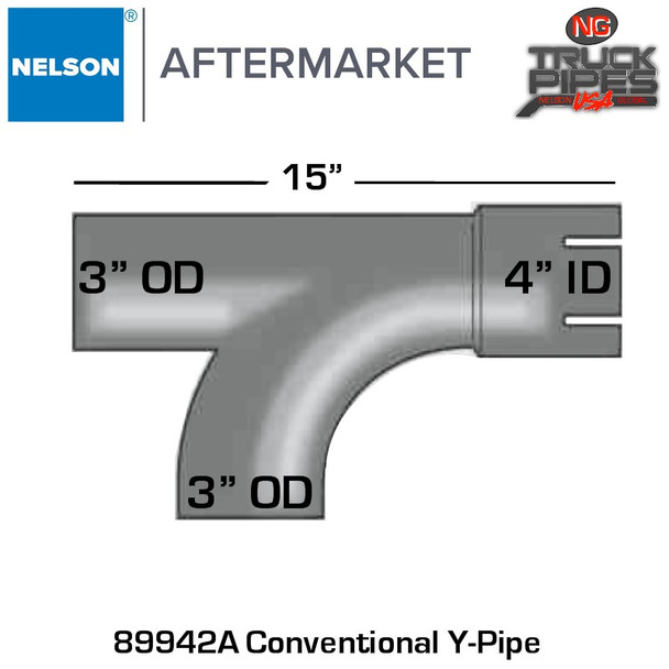 "4"" ID x 3"" OD Conventional Y-Pipe x 15"" Length"