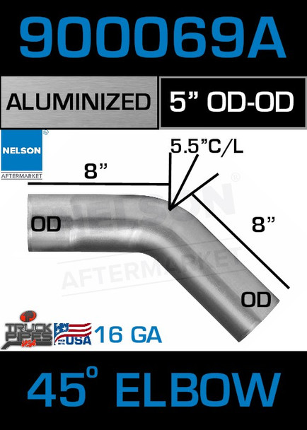 """45 Degree Exhaust Elbow Aluminized 5"""" with 8"""" Legs OD-OD"""
