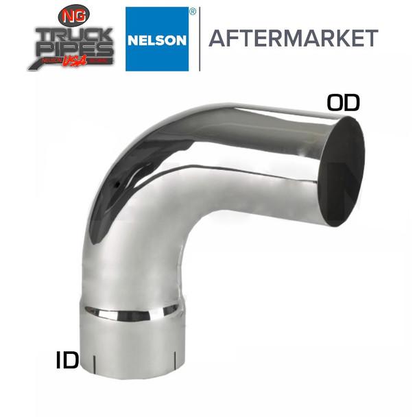 "4"" OD-ID 90 Degree Exhaust Elbow Chrome x 10"" Leg Length Nelson 89105C"