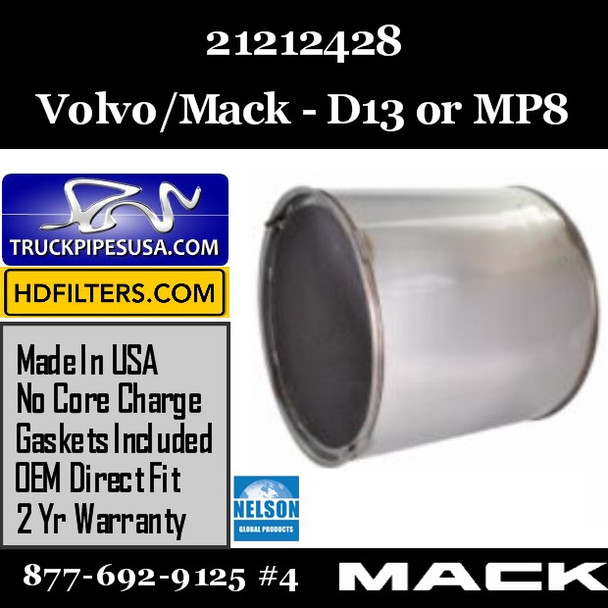 21212428-NDPF028MV-10 21212428 Volvo DPF for D13 or MP8 Engine