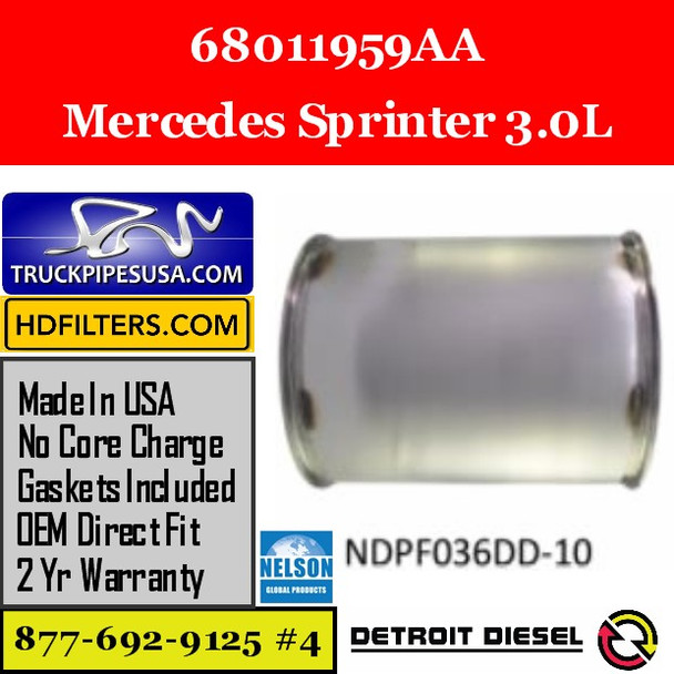 68011959AA-NDPF036DD-10 68011959AA Mercedes Sprinter 3.0L Engine DPF