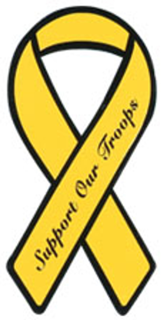 Yellow Support Our Troops Magnetic Ribbon **