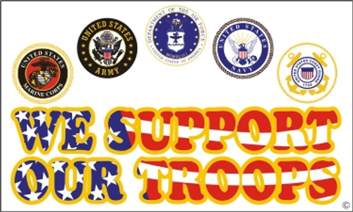 """Support Our Troops"" Military Flags"