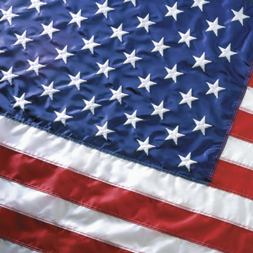 U.S. Flag - Nylon, Embroidered Stars, Sewn Stripes, Canvas Header, Brass Grommets