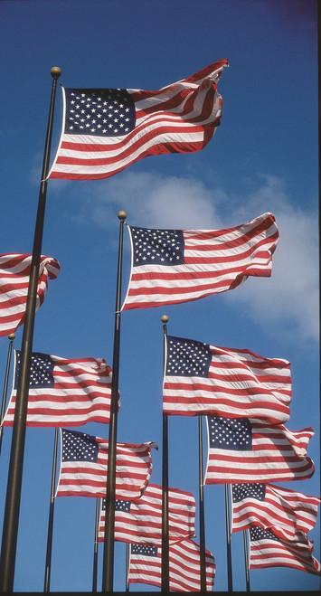 U.S. Flag - Government-Spec - Nylon, Embroidered Stars, Sewn Stripes, Canvas Header, Brass Grommets