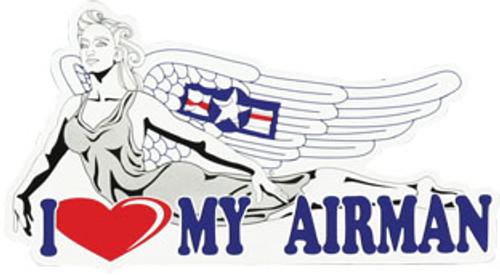 """I Love My Airman"" Nose Art Auto Magnet"