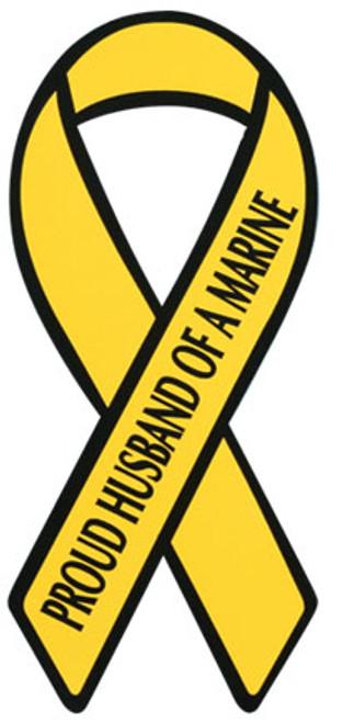 "8"" Yellow Ribbon Magnet - Proud Husband of a Marine"