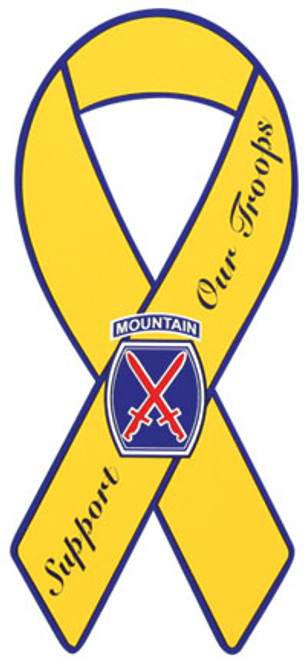"""8"""" Yellow Ribbon Magnet - 10th Infantry Division"""
