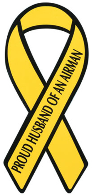 "8"" Yellow Ribbon Magnet - ""Proud Husband of an Airman"""