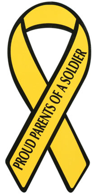 "8"" Yellow Ribbon Magnet - ""Proud Parents of a Soldier"""
