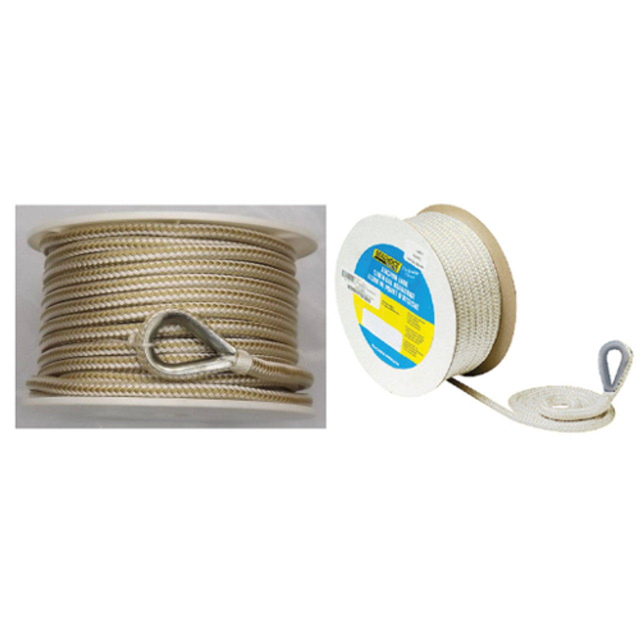 3//8 Inch x 100 Ft Three Strand Twisted Nylon Anchor Line for Boats