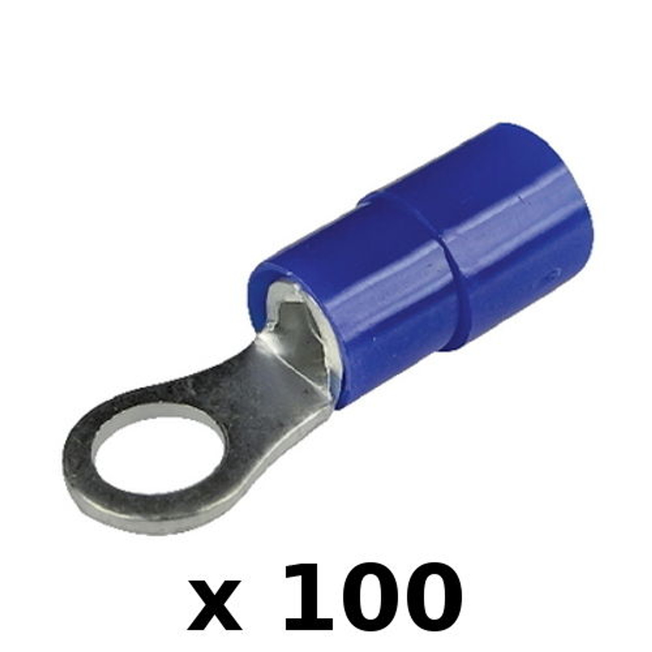 100 x Blue Vinyl 16-14 Gauge #1//4 Ring Wire Terminal Insulated