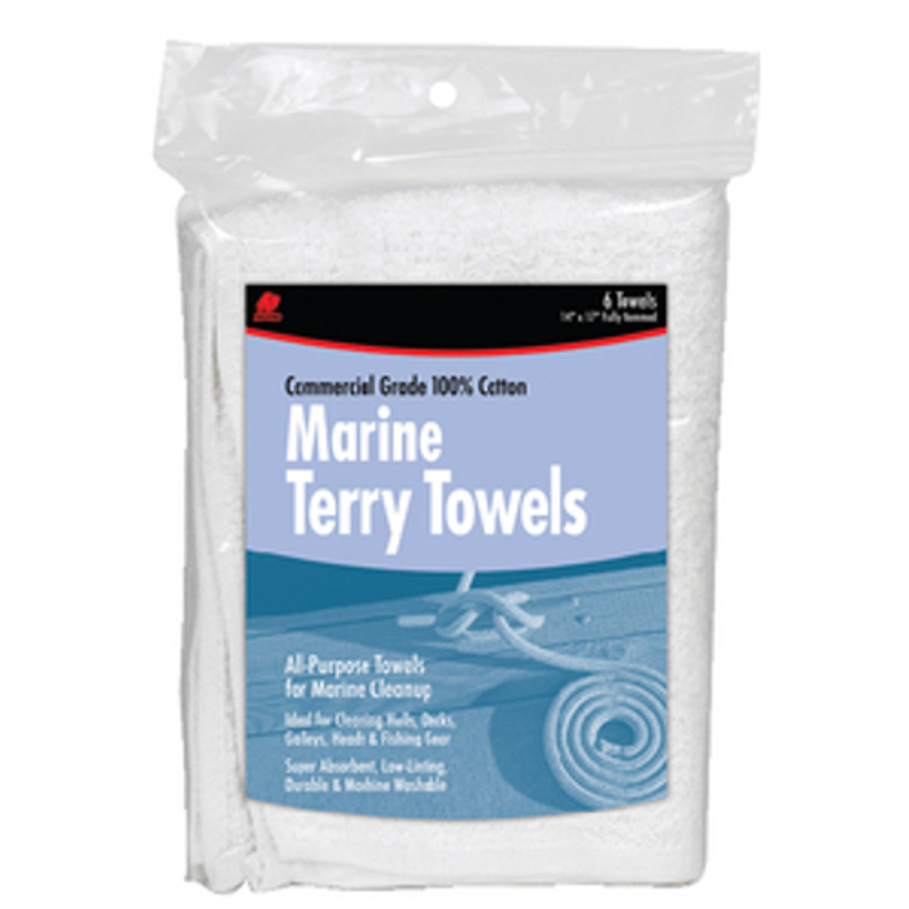 Buffalo Industries 6 Pack of Marine Cotton Terry Towels - 14 x 17 inch