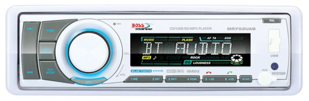 """Boss Marine AM / FM / CD / MP3 / WMA / SD / AUX Bluetooth Marine Stereo Package with Four 6-1/2"""" Speakers"""