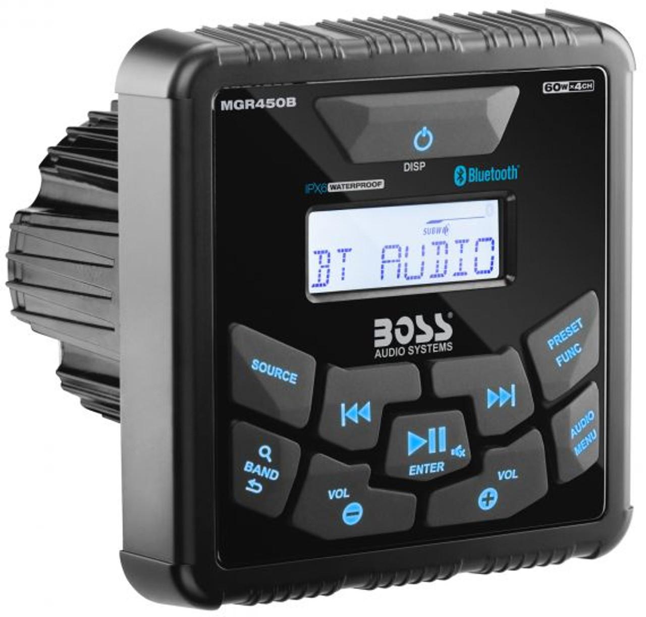 Boss Marine Bluetooth Weatherproof In-Dash Gauge Digital Media AM / FM Marine Stereo Receiver