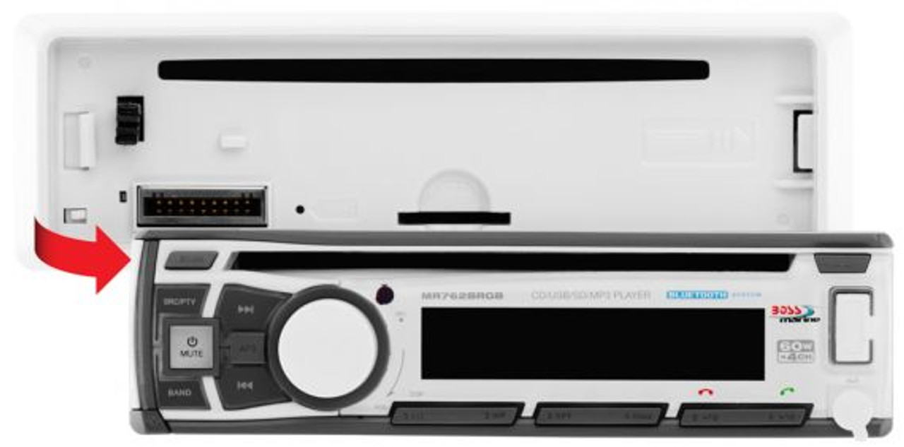 Boss Marine Bluetooth In-Dash CD / USB / SD / MP3 / WMA / AM / FM Marine Stereo Receiver with RGB
