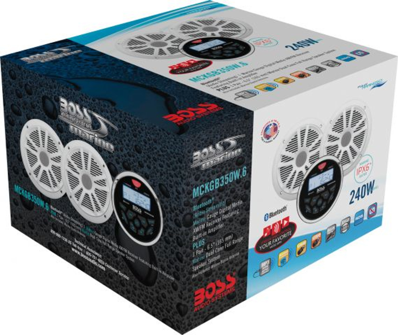 """Boss Marine Bluetooth Weatherproof In-Dash Gauge Mech-Less USB / MP3 / WMA / AM / FM Marine Stereo Package with 6-1/2"""" Speakers"""