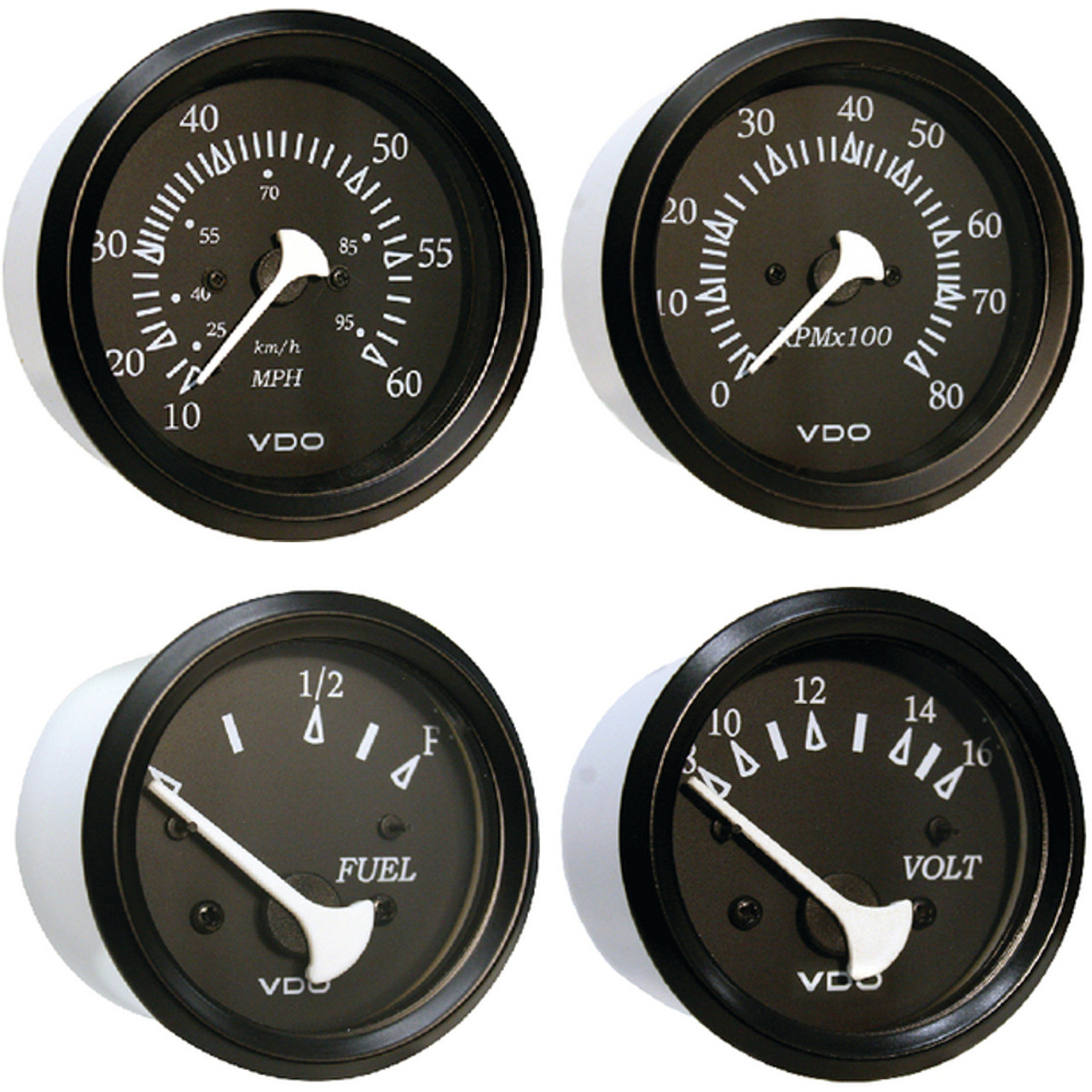 White Faced Johnson and Evinrude Outboard Trim Gauge with Chrome Bezel for Boats