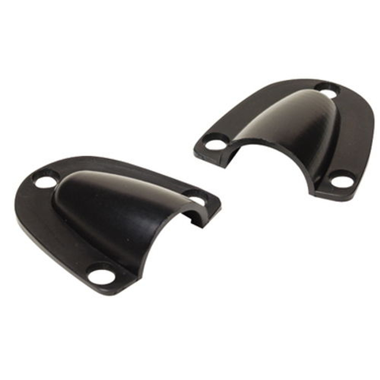 Pack of 2 Small Black Plastic Clam Shell Ventilators or Wire Covers for Boats