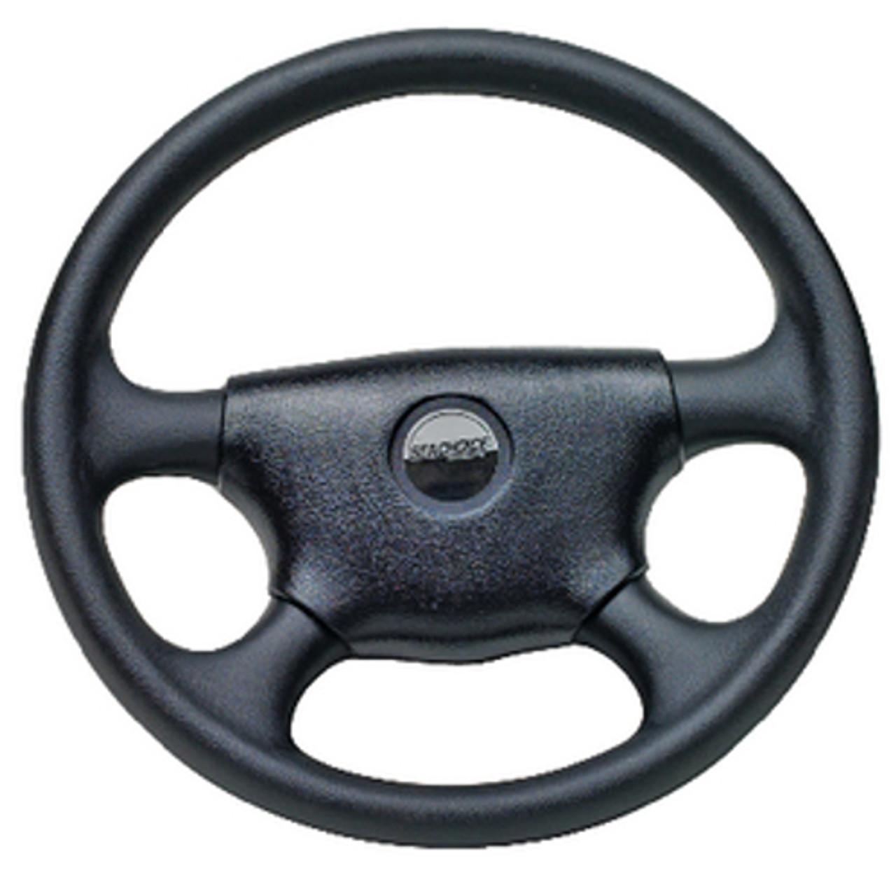 13-1/2 Inch Diameter Black Plastic 4 Spoke Steering Wheel for Boats