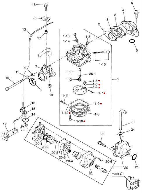 3h6871220m Tohatsu Nissan Marine Carburetor Repair Kit