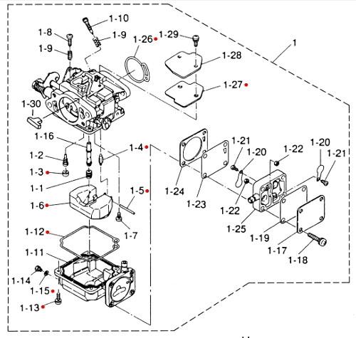 3G2871222M Tohatsu & Nissan Marine Carburetor Repair Kit