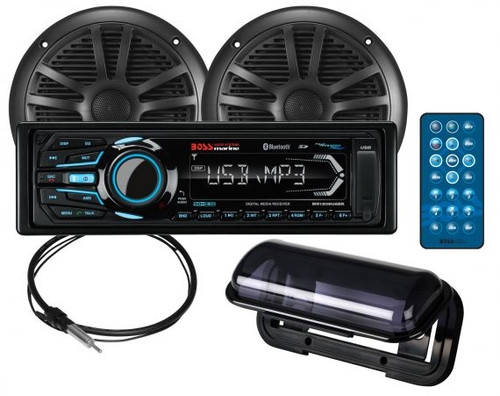 """Boss Marine AM / FM / USB / Bluetooth Marine Stereo Package with 6-1/2"""" Speakers"""