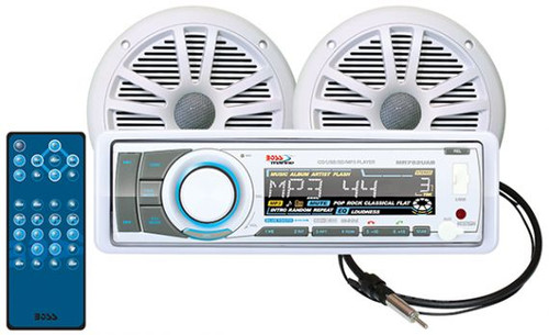 """Boss Marine AM / FM / CD / MP3 / WMA / SD / AUX Bluetooth Marine Stereo Package with 6-1/2"""" Speakers"""