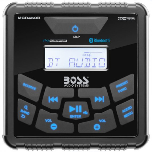 Boss Marine Bluetooth Weatherproof In-Dash Gauge Digital Media AM / FM Marine Stereo Receiver