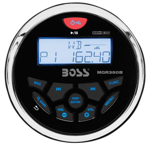 "Boss Marine Bluetooth Weatherproof In-Dash Gauge Mech-Less USB / MP3 / WMA / AM / FM Marine Stereo Package with 6-1/2"" Speakers"