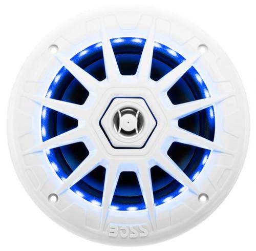 """Boss Marine Pair of 6-1/2"""" White 2-Way Marine Full Range 200 Watt Speakers with Red, Green, Blue LED Lights"""