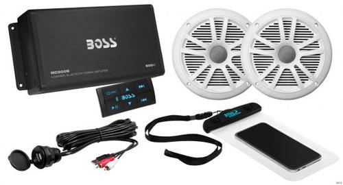 Boss Marine 500 Watt 4 Channel Bluetooth Amplifier with 2 Marine Speakers