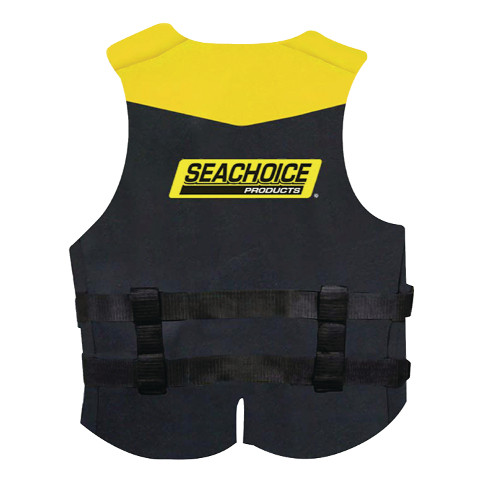 Seachoice Yellow and Black Neoprene Multi-Sport Adult X Large Sized Type III PFD Safety, Life & Ski Vest for Boats