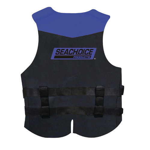 Seachoice Blue and Black Neoprene Multi-Sport Adult Small Sized Type III PFD Safety, Life & Ski Vest for Boats