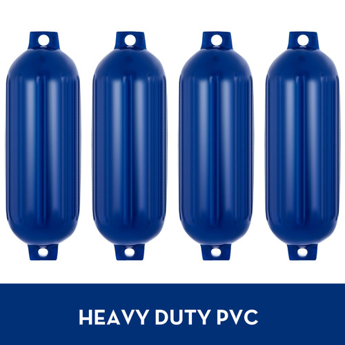 4 Pack of Blue 8.5 X 27 Inch Double Eye Ribbed Boat Fender Vinyl Mooring Shield Bumper Protection with Lines and Inflation Pump
