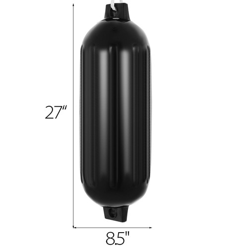 4 Pack of Black 8.5 X 27 Inch Double Eye Ribbed Boat Fender Vinyl Mooring Shield Bumper Protection with Lines and Inflation Pump