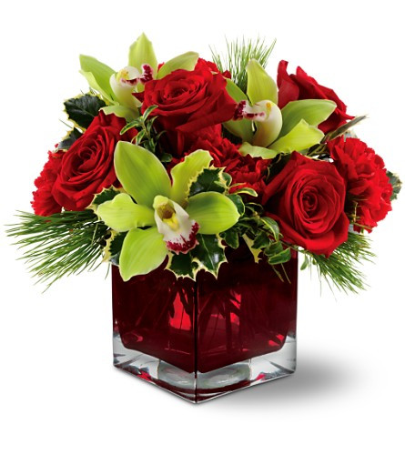 Green cymbidium orchids, red roses and carnations accented with holly and fresh pine in a red cube vase.