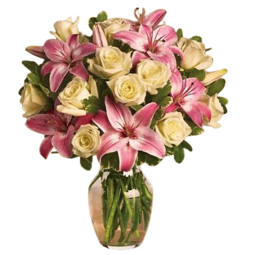 """A dozen Ivory Roses and beautiful Pink Asiatic Lilies say """"I Love You Always"""""""