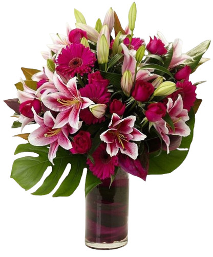 Hot pink roses, gerbera daisies and Stargazer lilies arranged in an impressive display.